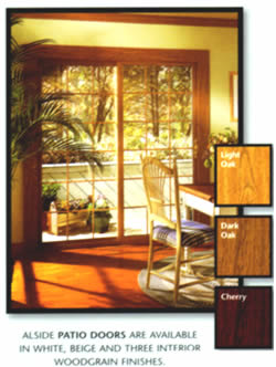 Alside Patio doors are available in white, beige, and three interior woodgrain finishes